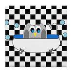 Owl In Tub (Black Checkered) Tile Coaster