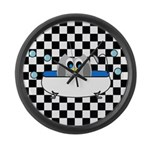 Owl In Tub (Black Checkered) Large Wall Clock