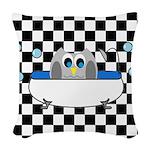 Owl In Tub (Black Checkered) Woven Throw Pillow