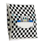 Owl In Tub (Black Checkered) Burlap Throw Pillow