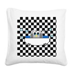 Owl In Tub (Black Checkered) Square Canvas Pillow