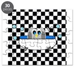 Owl In Tub (Black Checkered) Puzzle