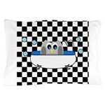 Owl In Tub (Black Checkered) Pillow Case