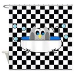Owl In Tub (Black Checkered) Shower Curtain