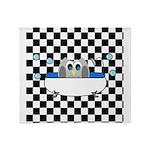 Owl In Tub (Black Checkered) Throw Blanket