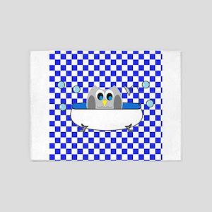 Owl In Tub (Blue Checks) 5'x7'Area Rug