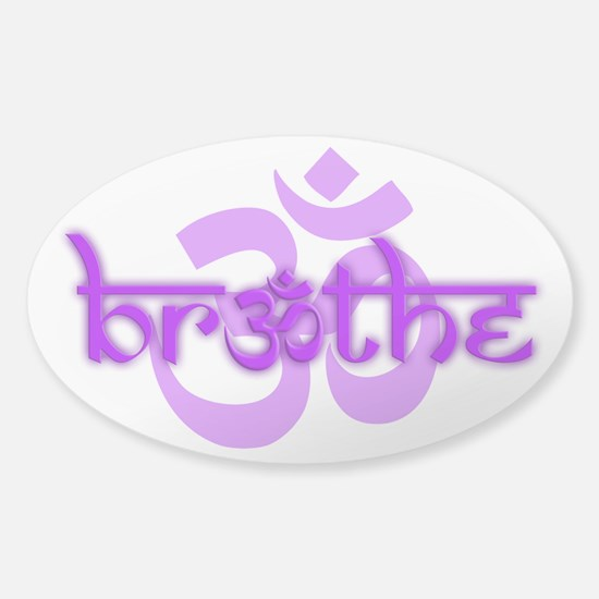 (Purple) Breathe With Om Sticker (Oval)