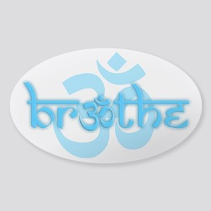 (Turquoise) Breathe With Om Sticker (Oval)