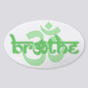 (Green) Breathe With Om Sticker (Oval)