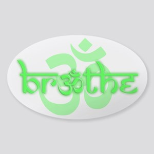 (Lime Green) Breathe With Om Sticker (Oval) Sticke