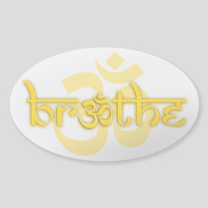 (Yellow) Breathe With Om Sticker (Oval)