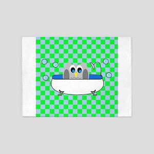 Owl In Tub (Green Checks) 5'x7'Area Rug