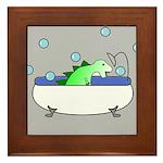 Dinosaur In Tub (Grey) Framed Tile