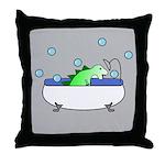 Dinosaur In Tub (Grey) Throw Pillow