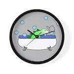 Dinosaur In Tub (Grey) Wall Clock