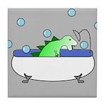 Dinosaur In Tub (Grey) Tile Coaster