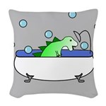 Dinosaur In Tub (Grey) Woven Throw Pillow