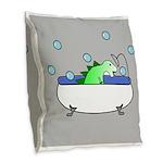 Dinosaur In Tub (Grey) Burlap Throw Pillow