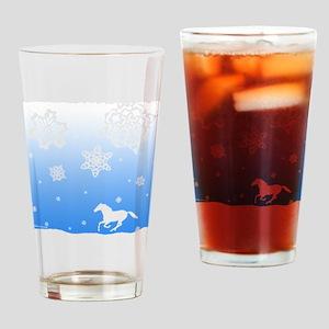 winter white horse Drinking Glass