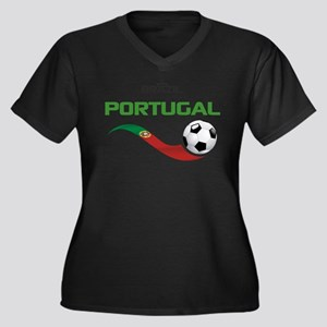 Soccer PORTU Women's Plus Size V-Neck Dark T-Shirt