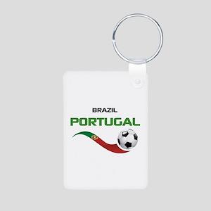 Soccer PORTUGAL Brazil Aluminum Photo Keychain