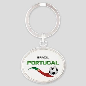 Soccer PORTUGAL Brazil Oval Keychain