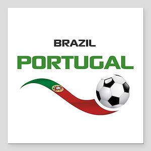 """Soccer PORTUGAL Brazil Square Car Magnet 3"""" x 3"""""""