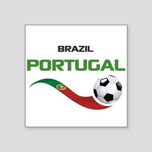 "Soccer PORTUGAL Brazil Square Sticker 3"" x 3"""