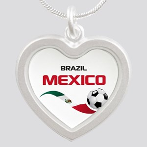 Soccer 2014 MEXICO red Silver Heart Necklace