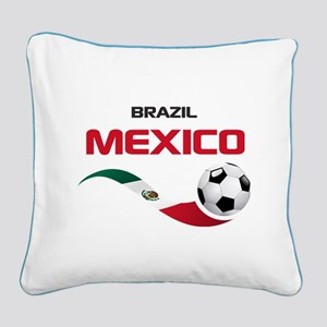 Soccer 2014 MEXICO red Square Canvas Pillow