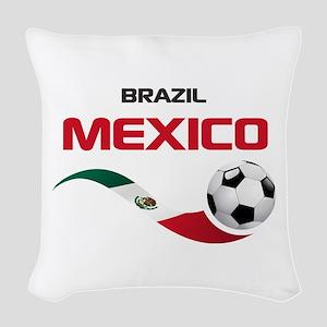 Soccer 2014 MEXICO red Woven Throw Pillow