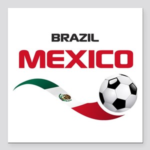 """Soccer 2014 MEXICO red Square Car Magnet 3"""" x 3"""""""