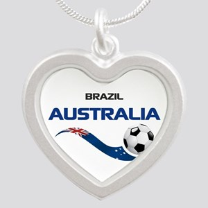 Soccer 2014 AUSTRALIA 1 Silver Heart Necklace
