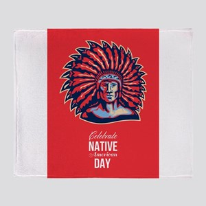 Native American Day Celebration Retro Poster Card