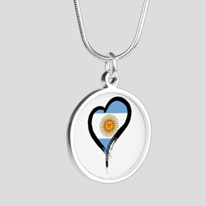 Heart Nation 04 Silver Round Necklace