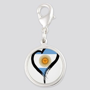 Heart Nation 04 Silver Round Charm