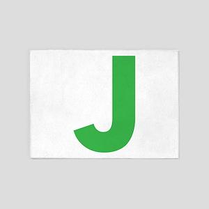 Letter J Green 5'x7'Area Rug