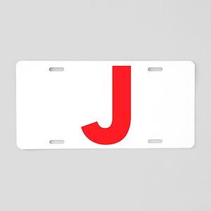 Letter J Red Aluminum License Plate