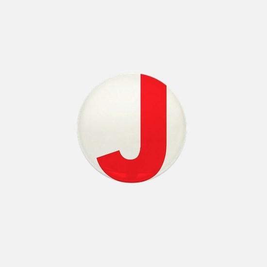 Letter J Red Mini Button