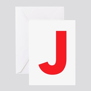 Letter J Red Greeting Cards