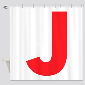 Letter J Red Shower Curtain