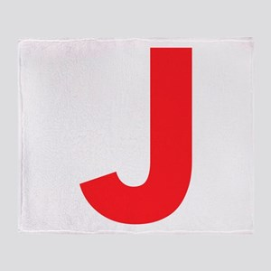 Letter J Red Throw Blanket