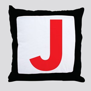 Letter J Red Throw Pillow