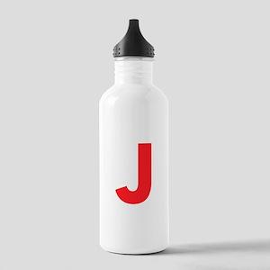 Letter J Red Water Bottle
