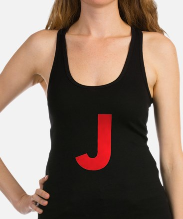 Letter J Red Racerback Tank Top