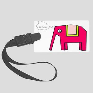 Pink elephant Large Luggage Tag