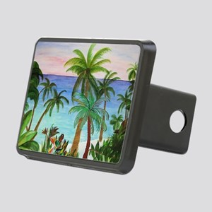 Aqua Beach Palms Rectangular Hitch Cover