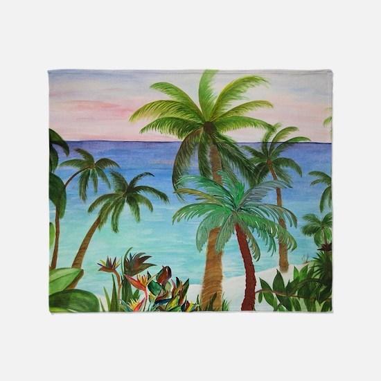 Aqua Beach Palms Throw Blanket