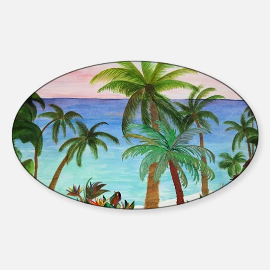 Aqua Beach Palms Sticker (Oval)