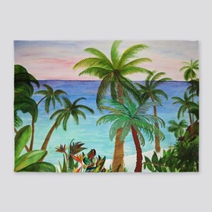 Aqua Beach Palms 5'x7'Area Rug